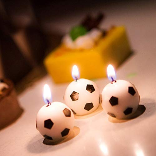 Candles - 6pcs Cute Soccer Ball Football Cake Candles Kids Birthday Party Baby Shower Candle Decoration - Props Games Napkins Centerpiece Ball Candle Theme Invitations Gifts Banner Girls Snack
