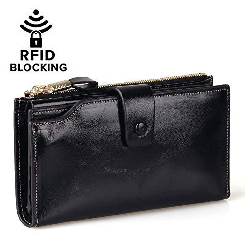 Jack&Chris Women's RFID Blocking Luxury Wax Genuine Leather Clutch Wallet Card Holder Organizer Ladies Purse, WB301 (Black)