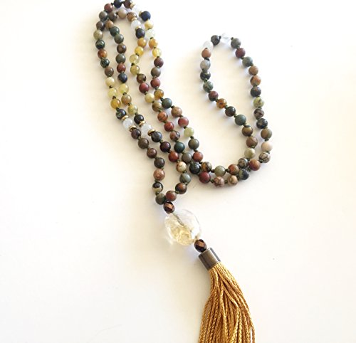 108 Bead Knotted Serpentine Mala Necklace with Citrine Nugget and Tassel