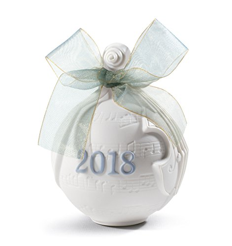 Lladro 2018 Bell Christmas Ornament (White/Blue, Ball Ornamen)