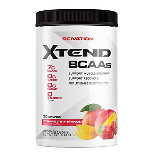 Scivation Xtend BCAA Powder, 7g BCAAs, Branched Chain Amino Acids, Keto Friendly, Strawberry Mango, 30 Servings