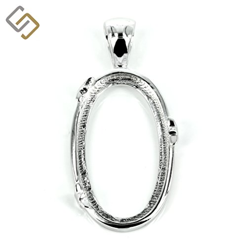 Oval setting pendant with star accents and soldered bail in sterling silver for 14mm x 24mm cabochons