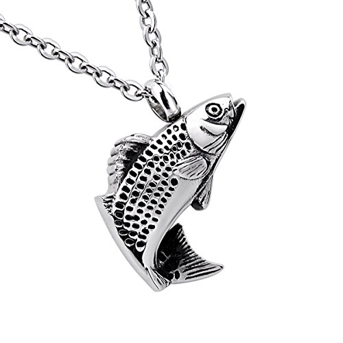 (Silver Tone Lucky Fish Pendant Cremation Urn Jewelry Keepsake Memorial Necklace Stainless Steel )