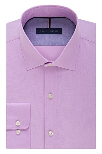 (Tommy Hilfiger Men's Non Iron Slim Fit Solid Spread Collar Dress Shirt, Frosted Lilac, 15.5