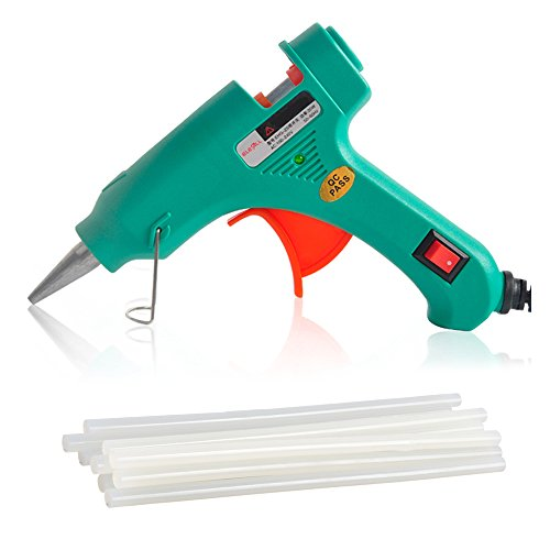 Elecall Mini Hot Melt Glue Gun with 20pcs Glue Sticks High Temperature Melting Glue Gun Kit Flexible Trigger for DIY Small Craft Projects&Sealing and Quick Repairs(20-watt, Green)