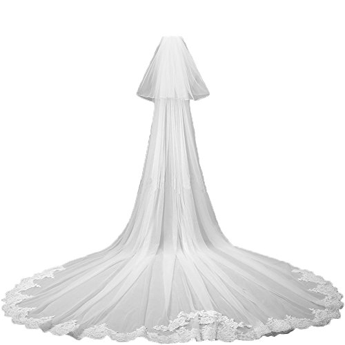 AliceHouse Long Lace 2 Tier Cathedral Length 2016 Fashion Wedding Veil Comb MV04 White