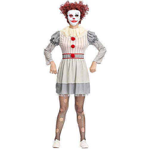 (YIBEN Halloween Movie Back to The Soul Clown Costume, Carnival Cos Costume Ball, Female Adult Clown Clothes, Stage Costume)