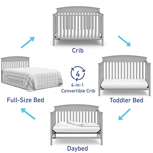 41ZTQkrCiML - Graco Benton 4-in-1 Convertible Crib, Pebble Gray, Solid Pine And Wood Product Construction, Converts To Toddler Bed Or Day Bed (Mattress Not Included)