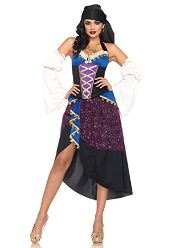 Leg Avenue Women's 4 Piece Tarot Card Gypsy Costume, Purple/Blue, Small