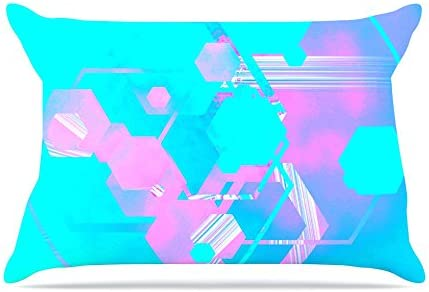 26 by 26 Kess InHouse Infinite Spray Art Emersion Pink Aqua Throw Pillow