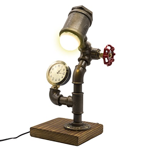 (Industrial Steampunk LED Desk Lamp, Wood Base with Iron Piping Loft Style Vintage Antique Light, Retro Desk Lamp, Y-Nut