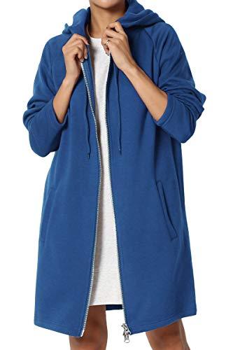 TheMogan Women's Hoodie Oversized Zip Up Long Fleece Sweat Jacket Sapphire L/XL