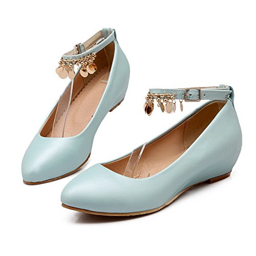Odomolor Women's Low-Heels PU Solid Buckle Round-Toe Pumps-Shoes, Blue, 41