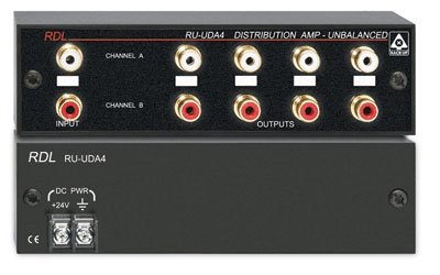 RDL RU UDA4 Audio Distribution Amplifier Stereo Unbalanced Line Level, 4 Outputs Per Channel