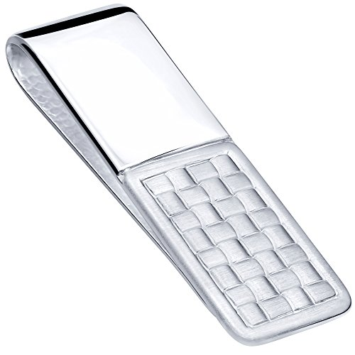 Sterling Manufacturers Sterling Silver .925 Money Clip, Basket Weave Accent, Engravable, Designed and Made in Italy ()