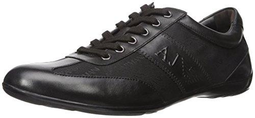 Armani Jeans Mens Jacqaurd Stads Mode Sneaker Svart