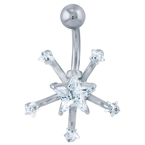 Snowflake Star Cubic Zirconia Belly Ring