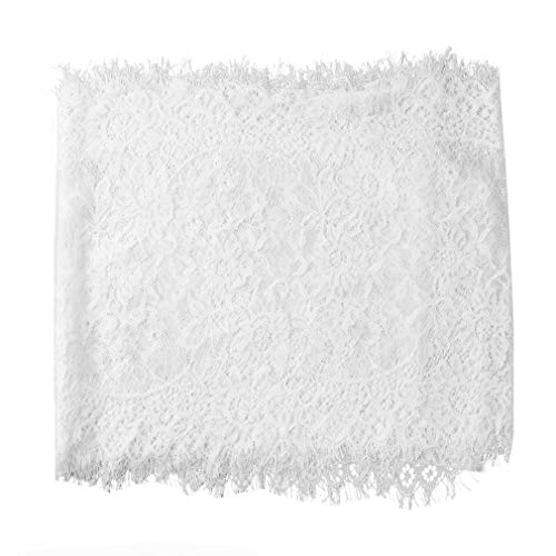 Yunzee White Lace Tablecloth, Reusable Rectangle Table Runner for Weddings Baby & Bridal Shower Décor, Elegant Chic Spring Summer Outdoor Tea Party Tablecover (118