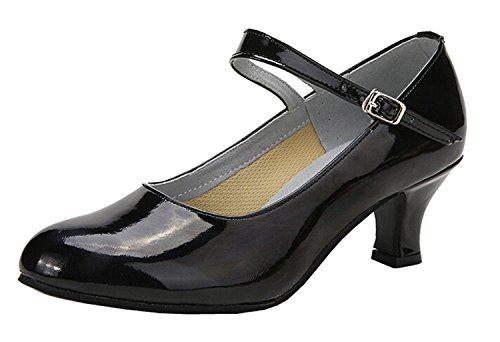 staychicfashion Womens Kitten Heel PU Leather Modern Latin Dance Shoes Outdoor Closed-Toe Flared Heels Black/Suede kZZY2HTM
