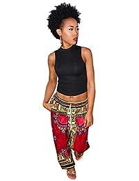 Women Summer Casual Bohemia African Print Wide Leg Pants Lounging Pants