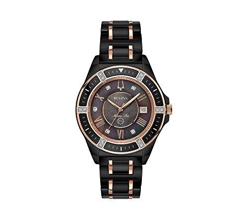 Bulova Women's 37mm Marine Star Black IP Ceramic and Diamond Accent Bracelet Watch