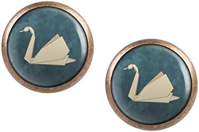 Mylery Ohrstecker Paar mit Motiv Schwan Origami bronze verschiedene Größen