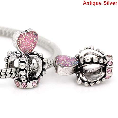 Calvas European Charm Beads Crown Antique Silver Pink Acrylic Rhinestone Enamel Pink 17mmx10mm,Hole:About:6mmx5mm,1PCs
