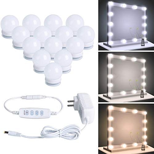 Hollywood LED Vanity Lights Strip Kit with 14 Dimmable Light Bulbs for Full Body Length Makeup Mirror & Bathroom Wall…
