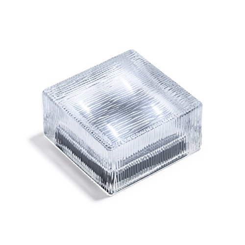 "LampLust Square Glass Solar Brick, LED Path & Garden Light, 4"" x 4"" Lined Texture, Cool White, Waterproof Outdoor Accent Lighting - Rechargeable Batteries Included"