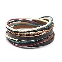 Brazalete ajustable para hombre Brazalete de cuero marrón Cuerdas multicoloras y metal tejido Snapper 582s