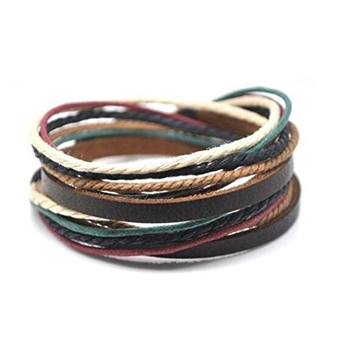Adjustable Mens Bracelet Cuff Brown Leather Multicolour Ropes and Metal Woven Snapper 582s