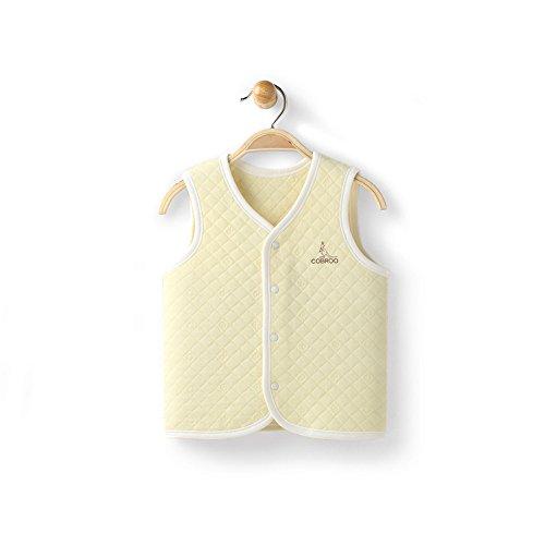 COBROO Unisex Baby Vest Spring/Autumn/Winter 100% Cotton Infant Snap-Up Front Vest 6-9 Months Yellow -