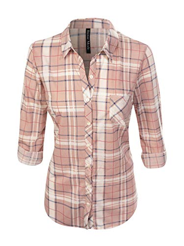 Design by Olivia Women's Checkered Plaid Roll Up Sleeve Stretch Knit Button Down Shirt Mauve/Navy M