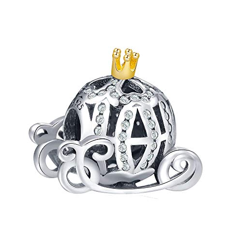 Cinderella's Pumpkin Charm Authentic 925 Sterling Silver Christmas Charms Beads Fit European Bracelets (Gold Coach Charm) -