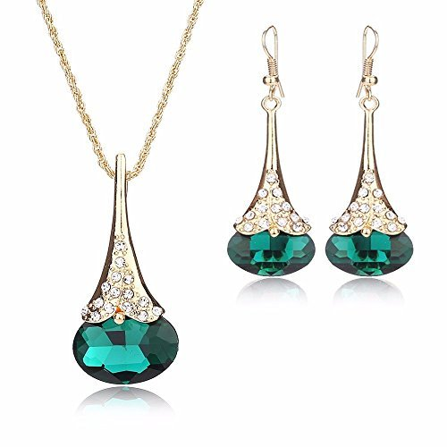 Women Fashion Water Drop Shape Gold Plated Jewelry Set Necklace Earring of Gemstone Crystal for Costume Show Wedding Party Dance Ceremony (Green Costume Jewelry Sets)