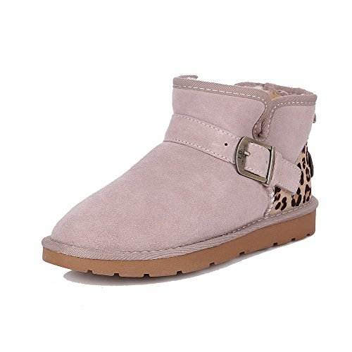 AgooLar Womens Frosted Round Closed Toe Assorted Color Ankle-High Low-Heels Snow-Boots Beige JBltjbSI