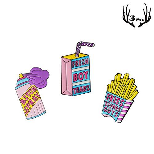 3 Pack Cartoon Brooch Pin Set Denim Jacket Pin Novelty Cartoon Enamel Brooch Pin Including French Fries Enamel Pin Boxed Milk Enamel Pin Spray Enamel Pin ()