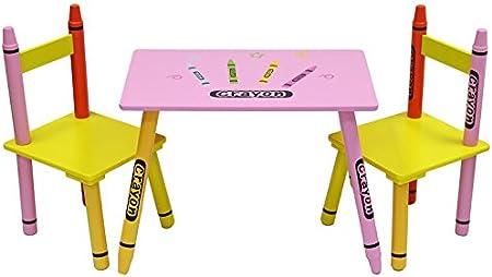 Dise/ño de ceras de colores Kiddi Style Mesa y Sillas Infantiles Madera Par Ninos