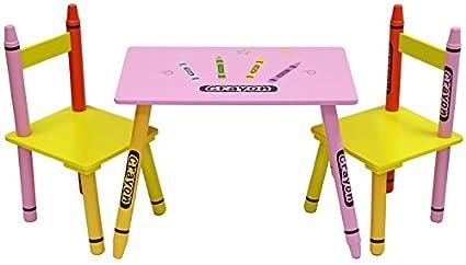 Kiddi Style Mesa y Sillas Infantiles - Madera - Par Ninos -Diseño de ceras de colores