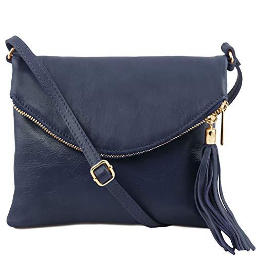 Cognac avec Bleu Bag Leather Tuscany Young pompon bandoulière TL Foncé Sac B7Oxg