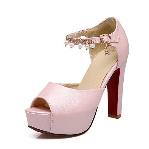 Un Color Sólido Con Una Sandalia De Plataforma Impermeable Con Cuentas/Zapatos Verano Con Alta Calidad Rosa