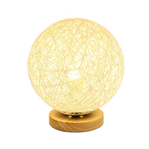 Creative Round Wooden Table Lamp, Rattan Lampshade, Living Room Bedroom Bedside Reading Study Table Lamp, Night Light, E27