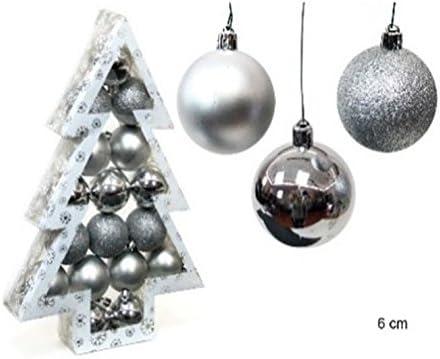Pack 17 Bolas Navidad Plata 6cm: Amazon.es: Hogar