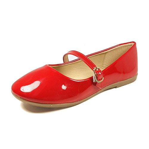 Nova Utopia Toddler Little Girls Dress Ballet Mary Jane Bow Flat Shoes,NF Utopia Girl NFGF060New Red 2 (Shoes Mary Jane Red)