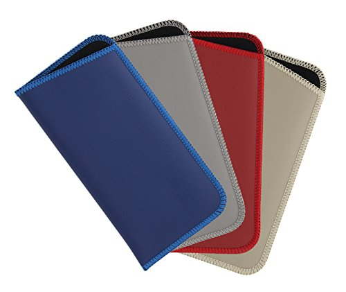4 Pack Faux Leather Eyeglass Slip Case For Men & Women, Assorted Colors & Sizes