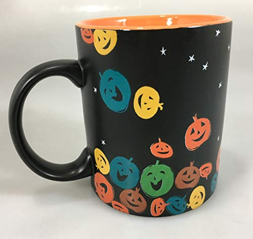Starbucks Black Coffee Mug 2007 Halloween Multi-Color Pumpkins Jack-o-Lanterns