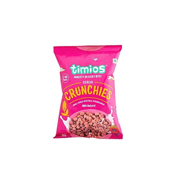 Timios Crunchies Breakfast Cereals Pouch | with Real Strawberries | Pack of 8