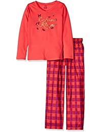 Girls Long Sleeve 2 Piece V-Neck Pajama Set. Calvin Klein