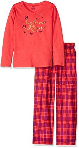 Calvin Klein Little Girls' CK Foil Butterflies V-Neck Sleep Set, Teaberry, 5/6]()