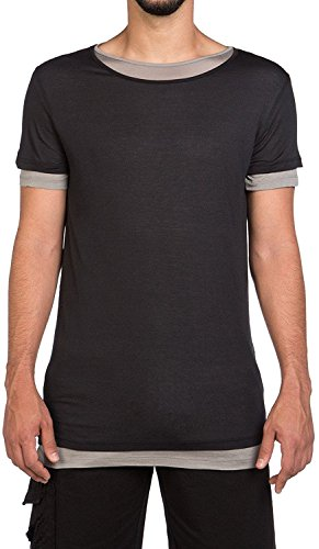 The Project Garments Men's Silk Blend Double Layer Crew Neck Tee Black and Grey (Large)